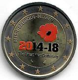 Belgien 2€ Gedenkmünze 2014 - 1. Weltkrieg koloriert