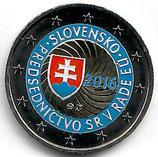 Slowakei 2€ Gedenkmünze 2016 - EU Ratsvorsitz koloriert