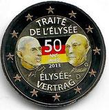Deutschland 2€ Gedenkmünze 2013 - Elysèe Vertrag koloriert