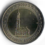 Deutschland 2€ Gedenkmünze 2008 - Hamburger Michel D