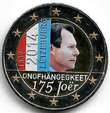 Luxemburg 2€ Gedenkmünze 2014 - Unabhängigkeit koloriert
