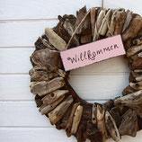 """Holzschild """"Willkommen"""""""