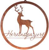 """Edelrost Schild """"Hereinspaziert"""" mit Hirsch"""