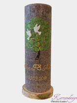 Hochzeitskerze Rustik Taupe mit Baum und Tauben