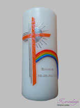 Taufkerze mit Regenbogen