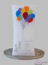 Hochzeitskerze Brautpaar mit Ballons