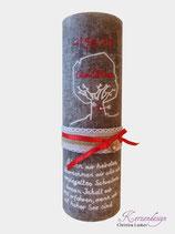 Hochzeitskerze Rustik Taupe mit Baum und Trauspruch