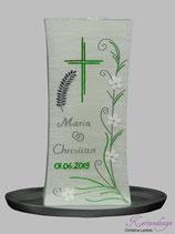 Hochzeitskerze Turm Perlmutt mit Ähre, Kreuz und Blumenranke silber-grün