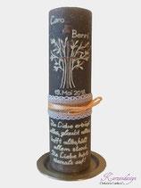 Hochzeitskerze Rustik grau mit Baum
