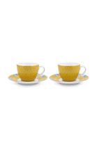 Set 2 Espresso Cups & Saucers Blushing Birds Yellow 120 ml