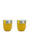 Set 2 Mugs Small Blushing Birds Yellow 145 ml
