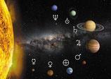 Sonnensystem mit Zeichen