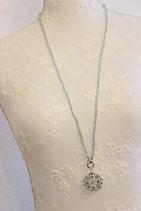 Amazonit- Halskette mit Blumenamulett- Anhänger silber