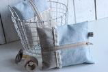 Feuchttücher-Etui, beschichtete Leine hellblau und creme (kleinere Stoffanteil)