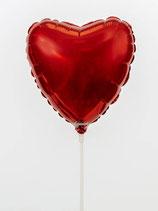 Herz Folienballon am Stab Rot