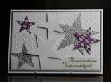 Weihnachtskarte Sterne silber