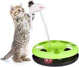 Relaxdays Katzenspielzeug mit Maus, Kugelbahn, Ball mit Glöckchen