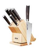 Deik Messerblock Set, Messerset, Kochmesser, Edelstahl, Ergonomischer Holz-Griff, drehbarer Holzblock, Küche, Profi, Feststehend, Extra Scharf, Allzweck Rostfrei, Bestückt, 6-tlg