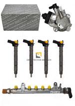 Injektor 03L130277 4x + Hochdruckpumpe 0445010507 + Railrohr Audi VW 2,0 TDI