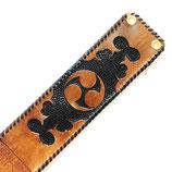 レザーカービング 左御紋 Aブラウン&ブラック 革紐シングル