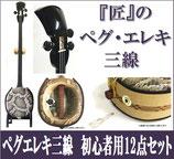 ペグ・エレキ三線 人工皮  集音マイク内蔵型