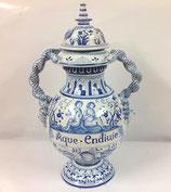 Unieke  blauw-witte, aardewerk vaas met deksel