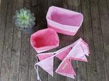 2 Stoffkörbchen & 10er Wimpelkette rosa-weiß
