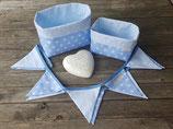 2 Stoffkörbchen & 10er Wimpelkette blau-weiß Sterne