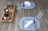Platzsets & Untersetzer oval grau meliert