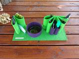 Schreibtisch-Organizer aus Filz apfelgrün/pflaume