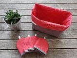 Frühstücksset in rot/ grau mit weißen Pünktchen * Brotkorb & 2er, 4er, 6er, 8er oder 10er Set Eierwärmer*