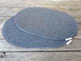 Platzsets oval einzeln oder als Sets dunkelgrau meliert