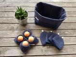 Frühstücksset 6 teilig in blau mit Pünktchen