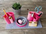 Schreibtisch-Organizer aus Filz grau meliert/rosa/pink