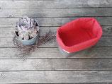 Stoffkörbchen rot-grau Pünktchen