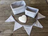 2 Stoffkörbchen & 10er Wimpelkette grau-weiß Sterne