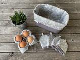 Frühstücksset *Marie* 6-teilig in hellgrau-grau mit Blumenornamenten