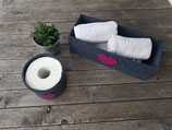 Toilettenpapieraufbewahrung/ Utensilo fürs Bad mit Herz