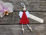 Engel aus Filz in rot meliert mit kleiner Nachricht von ❤