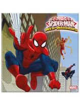 20 Serviettes en papier Spiderman Web-Warriors™ 33 x 33 cm