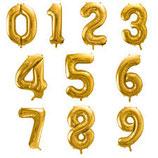 Ballon en forme de chiffre doré