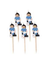 5 Bougies sur pic footballeurs bleus ciel 8 cm
