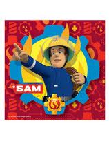 20 Serviettes en papier rouge Sam le Pompier ™ 33 x 33 cm