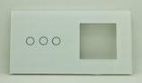 Glasplaat voor schakelaar met 1, 2 of  3 stroompunten plus  1 frame voor bv stopcontact 86 x 157 mm