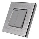 Design schakelaar voor 2 stroompunten   inclusief glas of aluminium frame