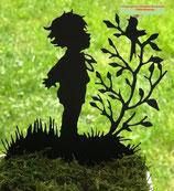 Art.Nr.: 6279ST - Pflanzenstecker Junge mit Vogel