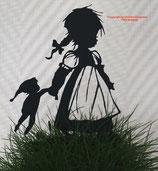 Art.Nr.: 6264ST - Pflanzenstecker Mädchen mit Kasperl