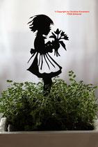 Art.Nr.: 6249ST - Pflanzenstecker Mädchen mit Blumenstrauß