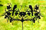 Art.Nr.: 6054G Gartenstecker Herz mit Vögel