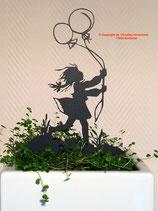 Art.Nr.: 6255ST - Pflanzenstecker Mädchen mit Luftballons